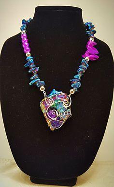Dichroic glass pendant zipper necklace aloadofball Gallery