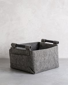 Beautiful And Functional    Felt Storage Bin With Black Wood Handles By  Loopdesignstudio