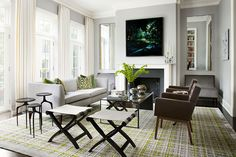 Get the Look: The Surprisingly Elegant Way to Work Neon in the Living Room. Living room design by Chicago interior design firm Litchen Craig.