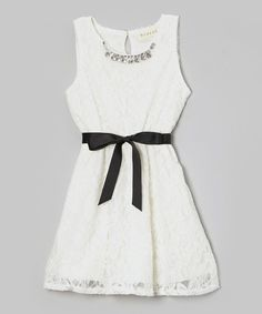 Look what I found on #zulily! Ivory Lace Jewel Collar Skater Dress - Girls by Btween #zulilyfinds