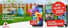 Vodafone RED XS mit 500 MB LTE Internet Flat und TOP-Smartphone ab 1 EUR http://www.simdealz.de/vodafone/vodafone-red-xs-mit-smartphone/