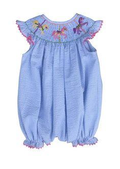 443914033e3 Hand Smocked Carousel Seersucker Light Blue Baby Bubble