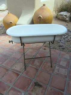 Authentic Vintage ANTIQUE Baby BATHTUB Tub With Stand From Hungary Planter  Garden Decor Wine Bucket Rusty Chippy Steampunk Crate Container