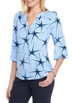 Crown  Ivy  Blue Petite Size Three Quarter Sleeve Starfish Print Blouse