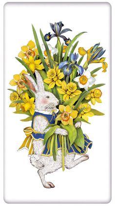 Daffodil Rabbit Easter 100% Cotton Flour Sack Dish Towel Tea Towel