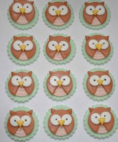 Round Owls Fondant Toppers for Cupcakes, Cake or Cookies- Edible- 1 DOZEN