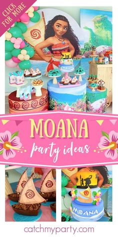 Feast your eyes on this impressive Moana birthday party! The dessert table is amazing! See more party ideas and share yours at CatchMyParty.com Girls Birthday Party Themes, Moana Birthday Party, Moana Party, Summer Birthday, Girl Birthday, Tropical Party Foods, Hawaiian Luau Party, Craft Party, Party Cakes