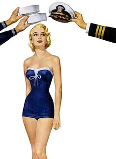 They're doffing their caps to her beautiful Catalina swimsuit, and can you blame them? It's fantastic!