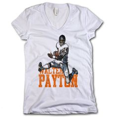 Walter Payton Name Sketch Chicago Officially Licensed Womens V-Neck S-2XL
