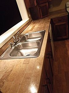 Pecky Cypress custom cabinets with a faux finish, granite ...