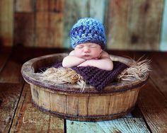 Baby Boy Hat Newborn Baby Boy Gray Blue Brown and Tan by EcoStreet, $25.00