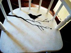 quaint black silhouette and white cottage chair. $34.99, via Etsy.