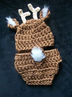 Sweet Baby Whitetail Deer Hat and Diaper Cover by FoxyLittleThing, $30.00.. I think our little boy needs to have this for his pictures.