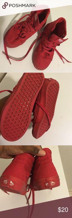 Vans Red Vans. High Top. Size 1 1/2 kids. Pictures show signs of wear. Vans Shoes Sneakers