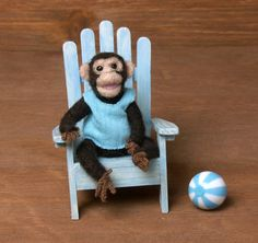 Cute Needle-Felted Miniature Chimpanzee by DinkyWorld on Etsy