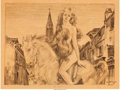 Virgil Finlay, Lady Godiva, December Finlay's first professional sale was Crusader 2, Lady Godiva, Sci Fi Fantasy, Celtic, Horror, Art Pieces, Sketches, December, Paintings