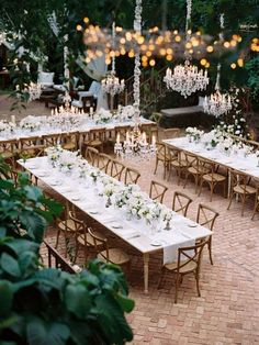 The most gorgeous outdoor tablescape we have ever seen. There are no words for how beautiful this outdoor Maui Hawaii wedding is! With glistening low hanging chandeliers twinkling and an all white tablescape Wedding Centerpieces, Wedding Table, Rustic Wedding, Wedding Ceremony, Wedding Decorations, Intimate Wedding Reception, French Wedding, Indoor Wedding Venues, Small Wedding Receptions