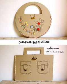 DIY Laced Cardboard Handbags http://www.handmadecharlotte.com/diy-laced-cardboard-handbags/