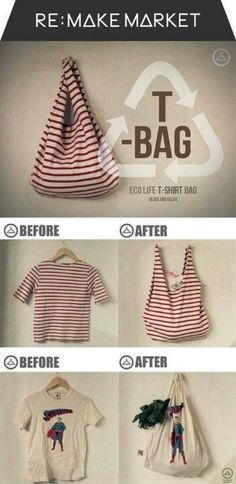 Have an old T-Shirt you're not using anymore? Recycle it into a new bag! #DIY #DIYStyle | Visit www.facebook.com/goldenbirdwings