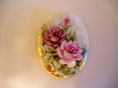 Flower Brooch Pin Roses on Porcelain Hand Painted with 24k Signed & Numbered   eBay