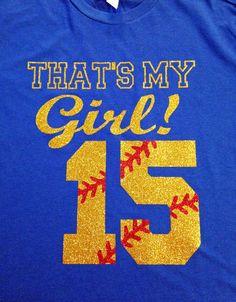 Custom Glitter That's My Girl Softball Number by GirlieGirlCouture