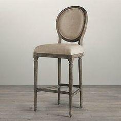 Seating - Vintage French Round Upholstered Barstool I Restoration Hardware - weathered french round bar stool & Vintage French Round Upholstered Barstool | Bar u0026 Counter Stools ... islam-shia.org