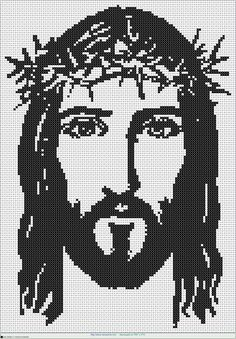 cara cristo EN PUNTO DE CRUZ Spanish Words For Kids, Filet Crochet, Hand Crochet, Cross Stitch Designs, Cross Stitch Patterns, Catholic Religion, Native Beadwork, Tapestry Crochet, Christmas Cross