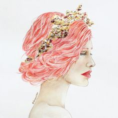 Drawing of a queen wearing a gold crown and red hair