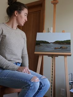 Taking a step back to sit with this work in progress of Constant Bay, NZ. Part of the Intertidal Collection. Oil landscape painting exploring the contrast between palette knife and soft brushwork. Take A Step Back, Palette Knife, Landscape Paintings, Exploring, Contrast, Oil, Collection, Landscape Drawings, Study
