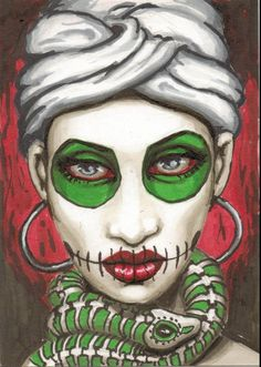 Marie by Shayne of the Dead Bohner Gypsy Woman Snake Canvas Art Print – moodswingsonthenet