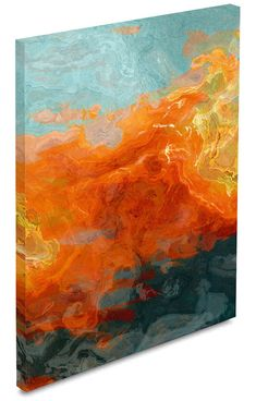 Golden bolts of orange and yellow echo across a cerulean blue background in Electric Illusion. This energetic large abstract expressionism canvas