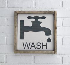 "WASH Faucet Sign | 11.75"" x 11.75"" | framed wood sign | vintage wash sign | farmhouse decor | farmhouse sign | bathroom sign by thenarrowwayshop on Etsy https://www.etsy.com/listing/516367807/wash-faucet-sign-1175-x-1175-framed-wood"