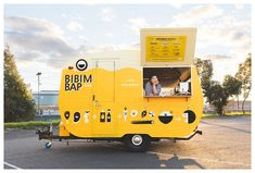 bibimbap yellow food caravan in melbourne for vending corean dishes Food Stall Design, Food Cart Design, Food Truck Design, Chinese Street Food, Korean Street Food, Food Trucks, Coffee Food Truck, Coffee Trailer, Mobile Cafe