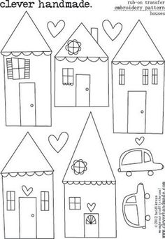 no longer available house templates by Clever Handmade - Embroidery Patterns - Rub Ons - Houses Applique Templates, Applique Patterns, Applique Designs, Embroidery Applique, Cross Stitch Embroidery, Machine Embroidery, Embroidery Designs, Owl Templates, Felt Patterns