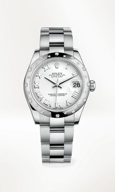 Rolex Datejust 31 in 904L steel with a domed bezel in 18 ct white gold set with diamonds, a white dial and an Oyster bracelet.