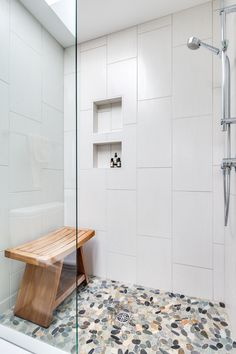 bathroom Walk in shower with glass enclosure, pebble floor and built in shelves. Shower Remodel, Bath Remodel, Bathroom Renos, Bathroom Interior, Bathroom Faucets, Stone Shower Floor, Pebble Floor, Pebble Tiles, Shower Installation