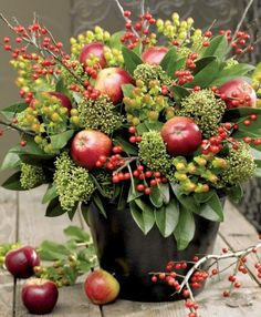 Autumn Centerpiece - now I know what to do with all that filler material that comes in mixed bouquets