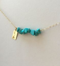 Personalized Turquoise Bar Necklace Initial Necklace Turquoise Jewelry Bridesmaids Gifts Turquoise Beaded Bar Necklace