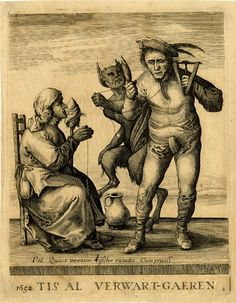The Devil trying to unravel the peasants spun thread Etching made by Pieter Jansz. Quast & Published by Claes Jansz Visscher, Holand ,1634-1640 (published 1652). Formerly attributed to Pieter Nolpe.