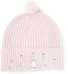 $192, Pink Beanie: Markus Lupfer Embellished Pom Pom Beanie. Sold by farfetch.com. Click for more info: https://lookastic.com/women/shop_items/89309/redirect