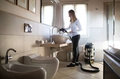 Bathroom Cleaning and Disinfection with Steam Vapour.   Deep clean your bathroom vanities, tiles, mirrors and toilet with one ultimate steam vacuum machine.  Visit duplexcleaning.com.au for demo.  #bathroom #vanity #cleaning