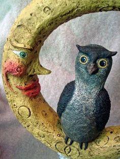 Owl and the Moon OOAK Paper Mache Sculpture Halloween Fall