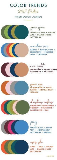 Color Trends 2017 Color Palettes by Erika Firm interiors Combinacion De Fall 2017 Pantone Colors Chart Colour Schemes, Color Trends, Color Combos, Colour Palettes, Paint Combinations, Color Combinations Outfits, Pantone Color Chart, Color Charts, Decoration Palette