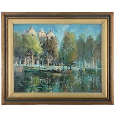 Vintage oil on board Impressionistic riverside scene by A F Trickett, circa 1950. Riverside scene with docked boats, trees and buildings.