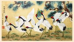 #ChineseArt #Painting #Crane Chinese Painting, Chinese Art, Crane, Calligraphy, Animals, Lettering, Animales, Animaux, Calligraphy Art