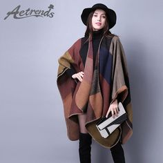 [AETRENDS] 2017 New Brand Women's Winter Poncho Vintage Blanket Women's Lady Knit Shawl Cape Cashmere Scarf Poncho Z-2241