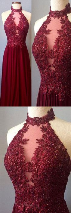 Burgundy chiffon long prom dresses lace appliques sexy Prom Dress,wine red Formal Dress H0084 #burgundypromdress #promdress #promdresses #promgown #promgowns #long #prom #modestpromdress #newpromdress #2018fashions #newstyles