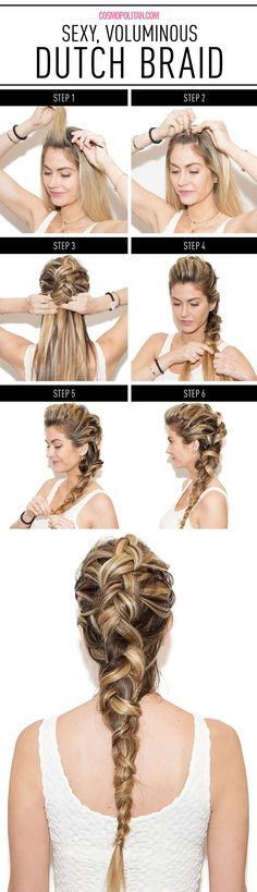 Beautiful new take on the French Braid. It's the Dutch braid, where you plait each strand under, rather than over (like in a French Braid) http://www.cosmopolitan.com/style-beauty/beauty/how-to/a39303/dutch-side-braid-how-to/?mag=cos
