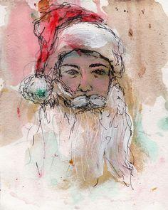 "9/26/15 - Santa Amy. Mixed media on watercolor paper. 8"" x 10"". $50."
