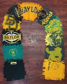 Baylor upcycled T-shirt scarf